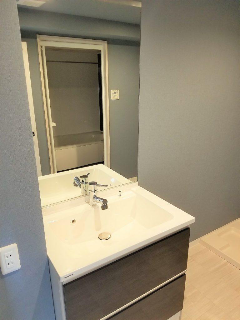 大型鏡一枚もののシャワー付き洗面台を設置しました。